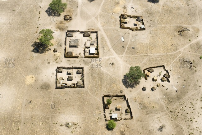 Aerial view of Spanish houses and fences