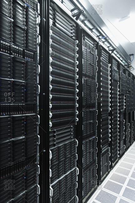 Computer racks in server room