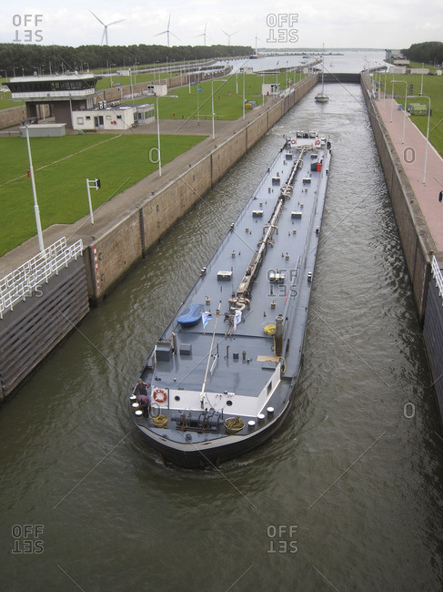 Barge traveling through canal
