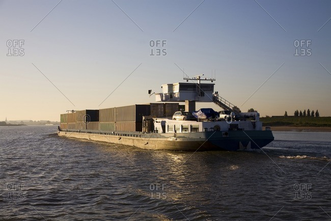 Netherlands - September 8, 2008: Freight containers on barge