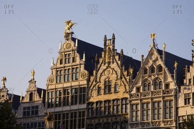 Ornate buildings against blue sky