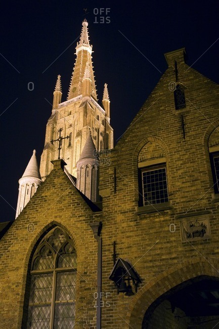 Bell tower of cathedral at night