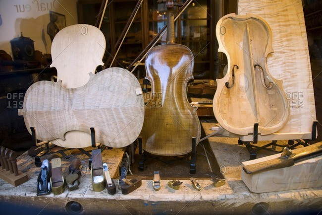Violin and parts in violin workshop