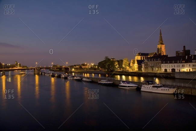 Maastricht, Limburg, Netherlands - September 20, 2008: Dutch canal and boats at night