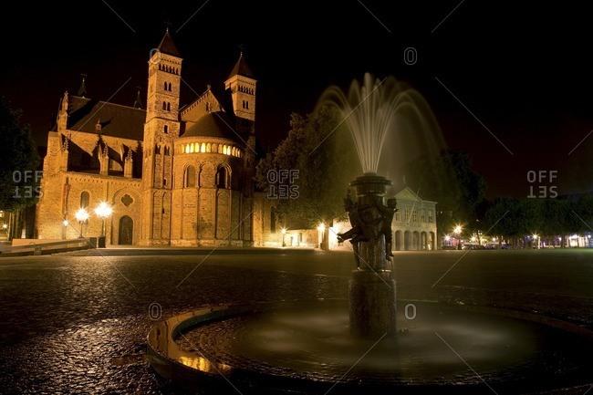 Dutch historical landmark and fountain in plaza