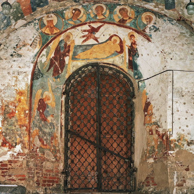 Kutlass, Petersburg, RUSSIA - June 26, 2006: Paintings over arched door