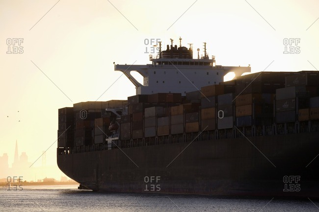 Oakland, CA, USA - August 27, 2008: Containers on container ship