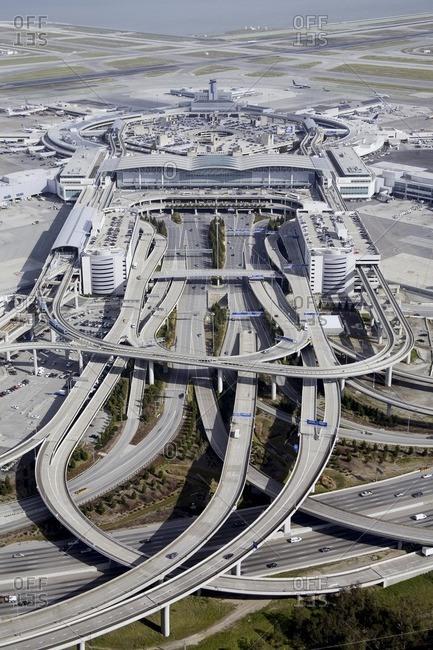 San Francisco, CA, USA - February 6, 2008: Aerial view of San Francisco airport