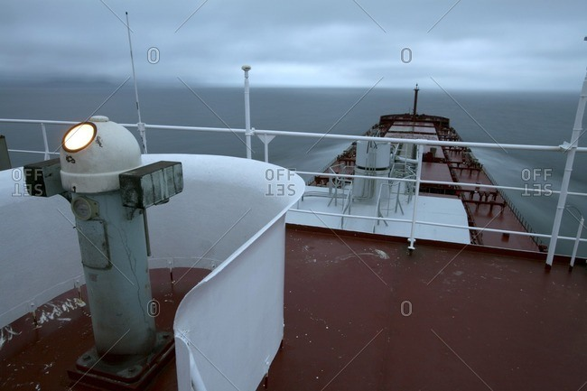 Flying bridge of ocean-going ship
