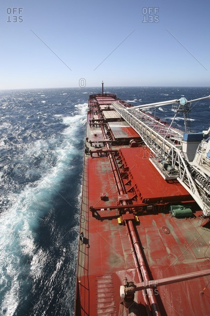 Deck of freight ship