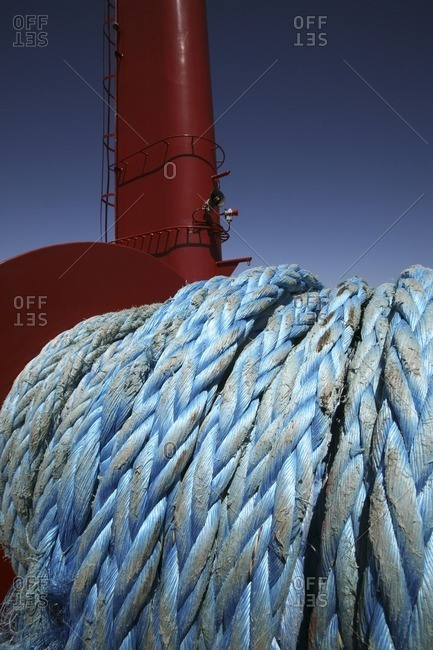 Close up of rope on ship