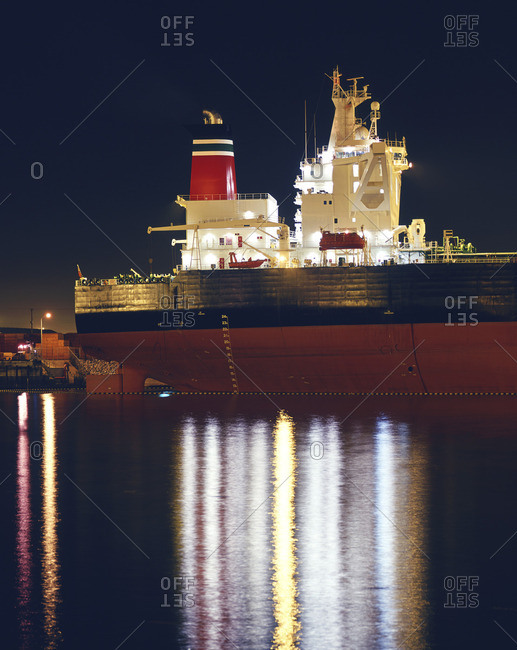 Ship moored in port of Los Angeles