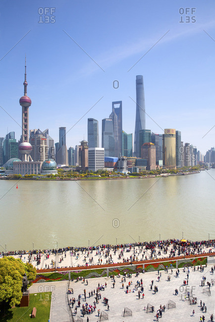 Huangpu river with skyline of Pudong business district, Shanghai, China