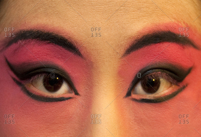 Close-up of Chinese opera singer's eyes
