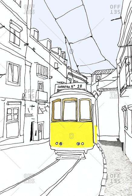 Portugal- Lisbon- historic tramway- illustration