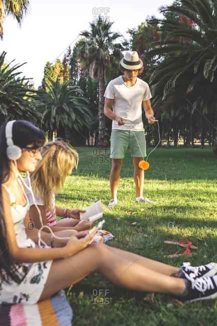 Friends in park relaxing