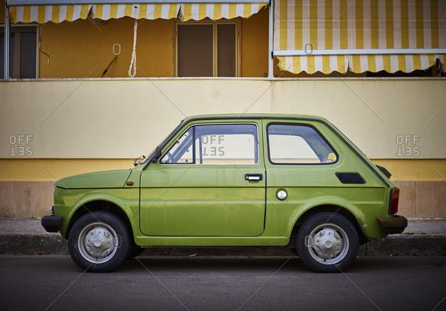 Apulia, Italy - August 23, 2016: Italy- Apulia- Fiat 500 in Otranto