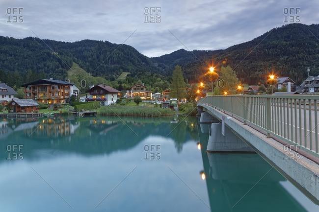 Austria- Carinthia- Lake Weissensee- Techendorf in the evening