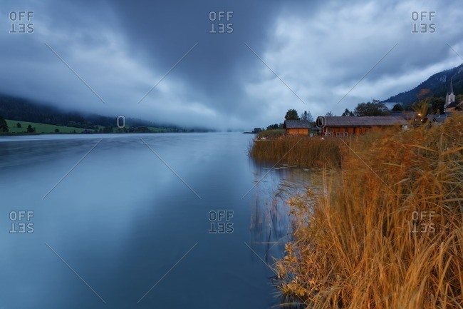 Austria- Carinthia- Boat houses at Lake Weissensee