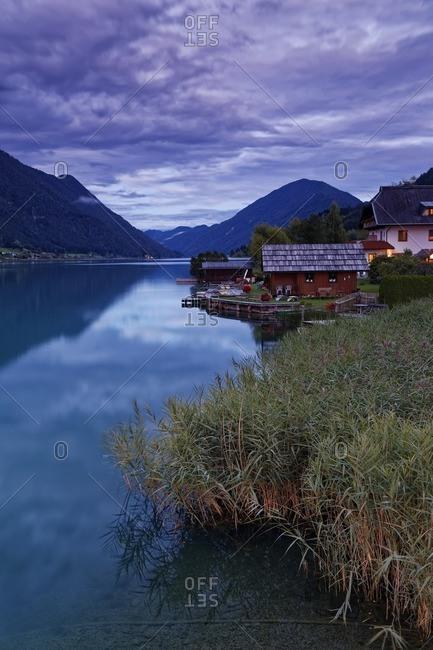 Austria- Carinthia- Boat houses at Lake Weissensee