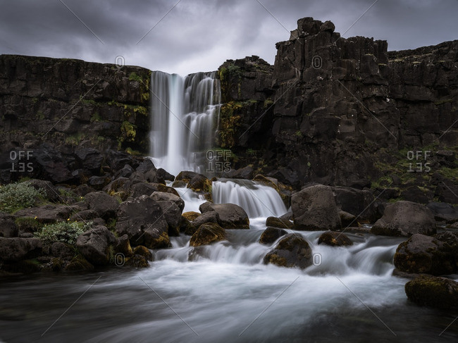 Oxararfoss Waterfall in Pingvellir National Park, Iceland