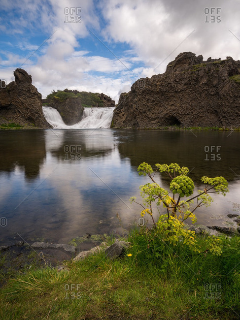 Fossa River at the base of the Hjalparfoss Waterfall, Iceland