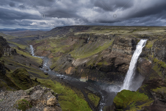 Elevated view of Haifoss Waterfall, Iceland