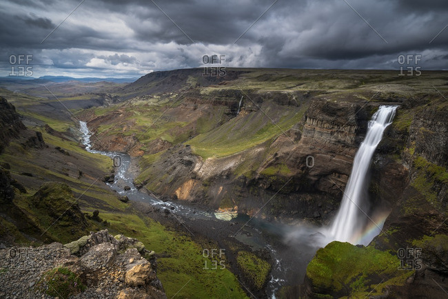 Elevated view of the majestic landscape around Haifoss Waterfall, Iceland