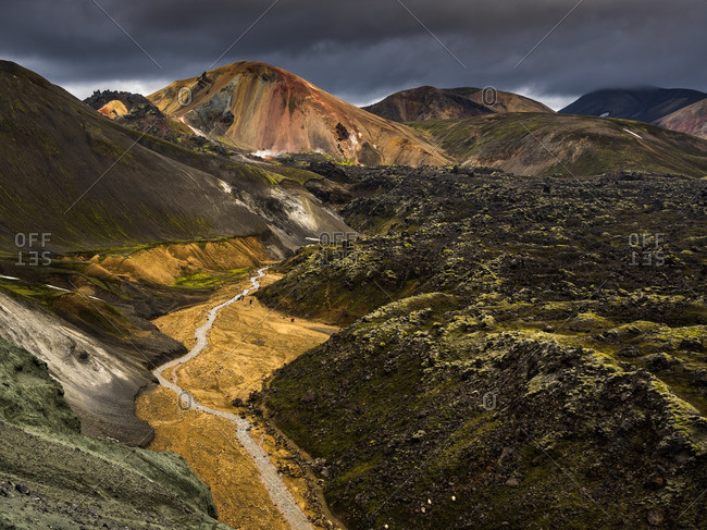 The colorful volcanic landscape of Landmannalaugar, in the Highlands of Iceland