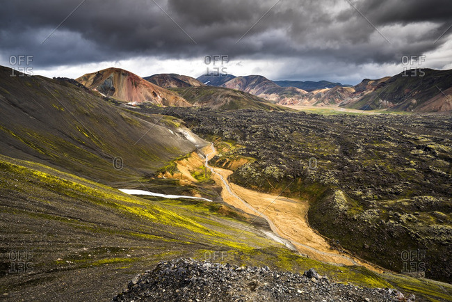 Picturesque volcanic landscape at Landmannalaugar, Iceland