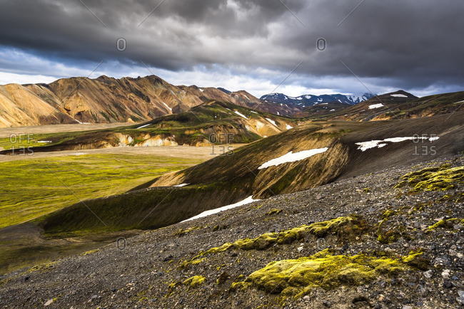 Patches of snow on the hills at Landmannalaugar, Iceland