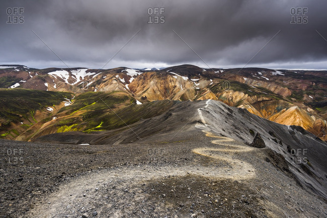 Hiking trail in Landmannalaugar, Fjallabak Nature Reserve, Iceland