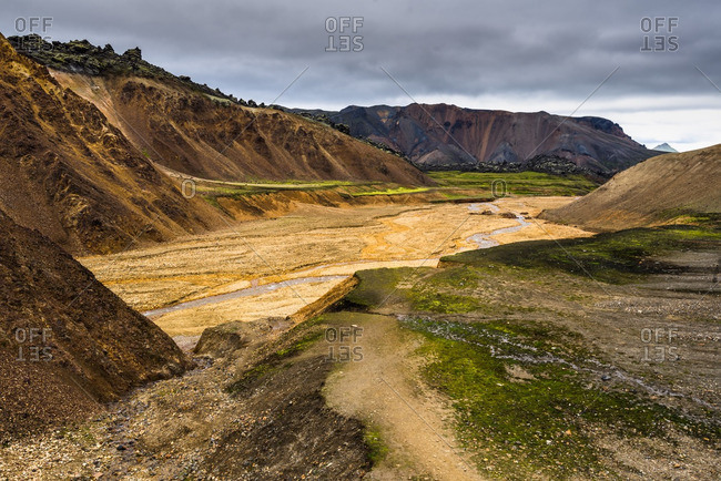 River valley in Landmannalaugar, Iceland