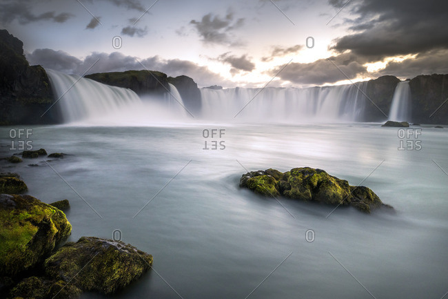 Long exposure of Godafoss waterfall in Iceland