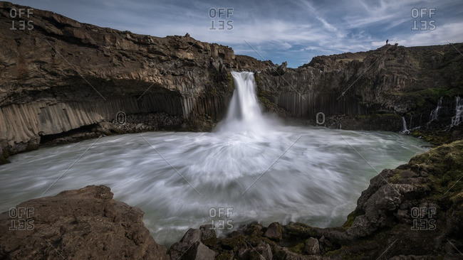 Long exposure of Aldeyjarfoss waterfall in Iceland