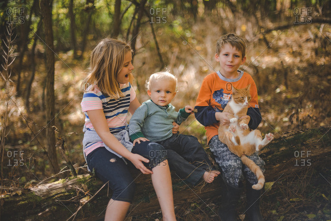 Siblings and pet cat sitting together on a log in the forest