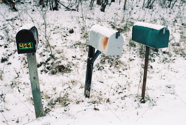 Mailboxes on a rural road in the snow