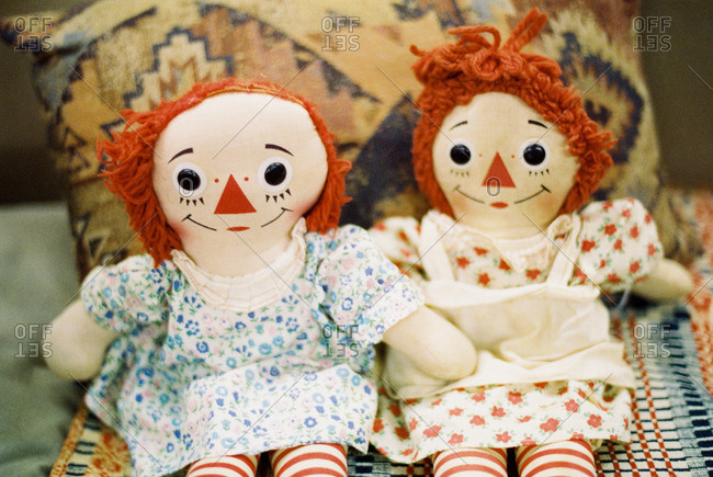 Vintage rag dolls in floral dresses