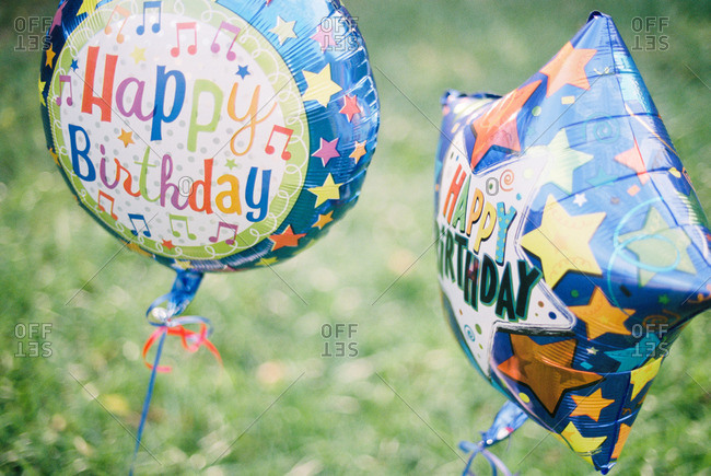 Colorful birthday balloons on a lawn