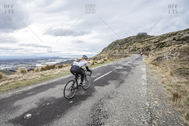 Cycling in the Port Hills near Christchurch New Zealand.