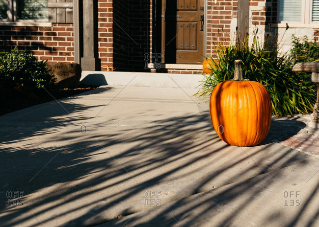 Shadows falling on front walkway with pumpkin