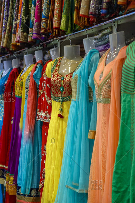 Vibrantly colored sari shop in Little India, Paris, France