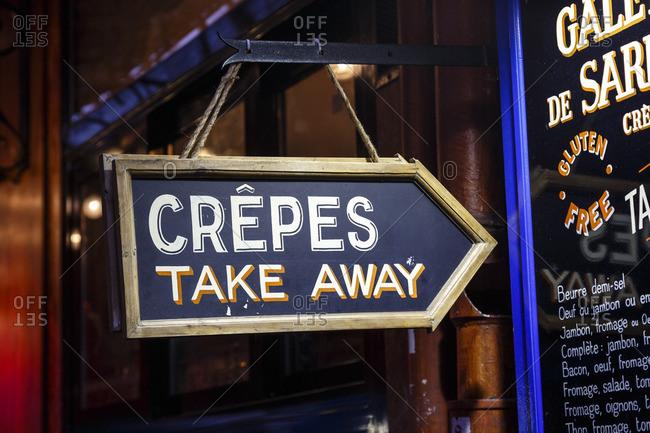 Paris, France - September 15, 2016: Sign for take-away crepes