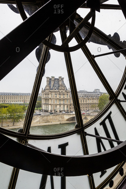 View through clock of the Louvre from Musee d'Orsay, Paris