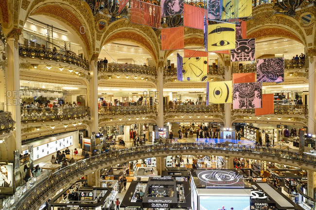Paris, France - September 19, 2016: Inside the busy Galeries Lafayette department store