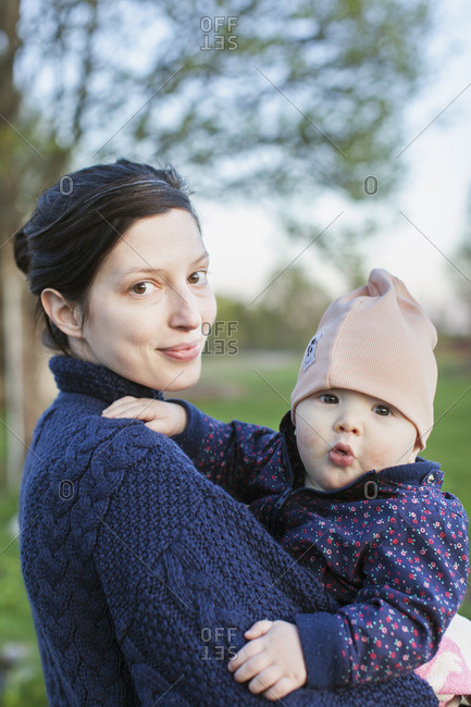 Sweden, Smaland, Mother holding son