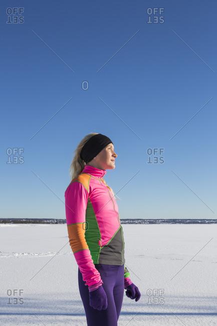 Sweden, Medelpad, Sundsvall, Portrait of woman on snowy day