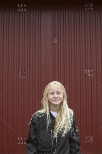 Sweden, Portrait of smiling girl