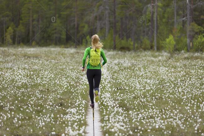 Sweden, Vasterbotten, Grossjons Nature Reserve, Woman running on footpath