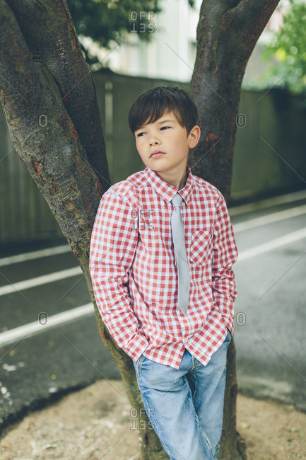 Sweden, Blekinge, Karlskrona, Portrait of boy in checked shirt